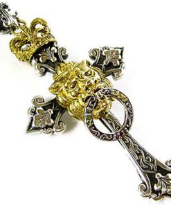 rasta cross lion of judah pendant