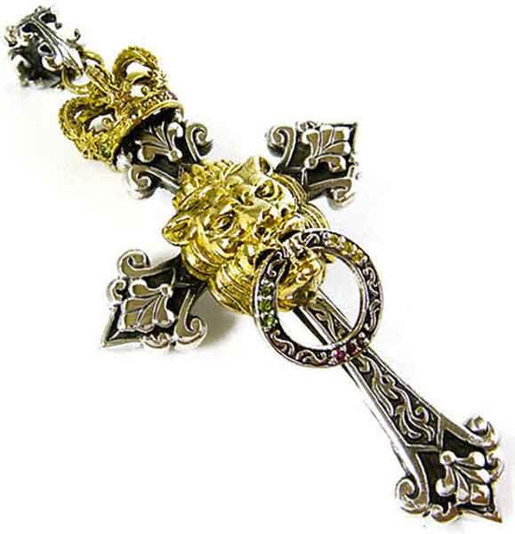 rasta cross lion of judah pendant