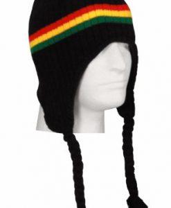 Black Rastafarian Rasta Peruvian Beanie Black Red Yellow Green Strings Beanie