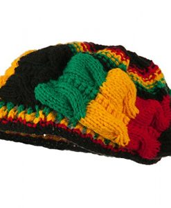 Stretch Cable Knit Acrylic Tam rasta colors