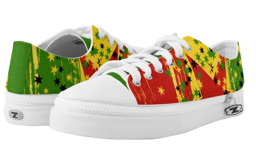 rasta shoes red gold green stars at rastaseed and rasta gear shop