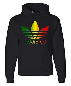 Addicted Funny Rasta Pot Leaf Hoodie Weed Smoking Parody 420 Kush Sweatshirt