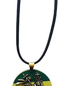 Rasta Lion, Lion of Judah Pendant on Black Cord Necklace