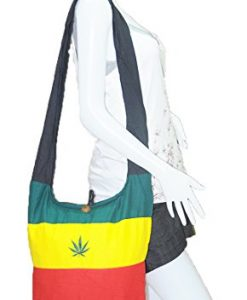 Thai Hippie Hobo Sling Crossbody Shoulder Bag Purse Handmade Zip Jamaica Raggae Rasta Hemp Cotton Gypsy Boho Messenger Large