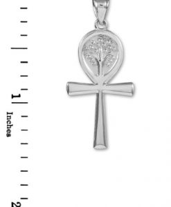 925 Sterling Silver Egyptian Ankh Cross Tree of Life Pendant
