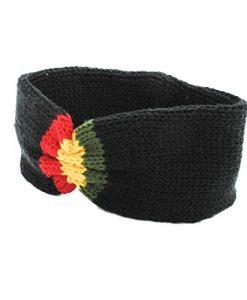 unisex knit Rasta Reggae winter headband-Black-One size