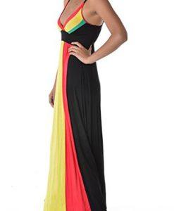Rasta Reggae Striped Black V-neck Long Empress Dress U.S.A