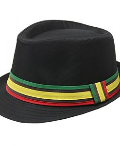 Solid Black Rasta Jamaican Inspired Reggae Fashion Unisex Fedora Hat