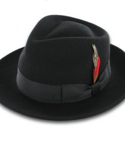 Belfry Gangster 100% Wool Stain-Resistant Crushable Fedora in 5 Sizes and 3 Colors