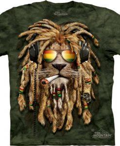 Lion Shirt Rasta Smokin' Jahman T-shirt Tie Dye Green Adult Tee