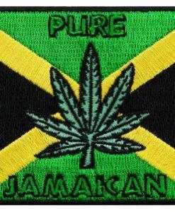 Jamaica Pot Flag Embroidered Patch Marijuana Rasta Jamaican Iron-On Rastafarian