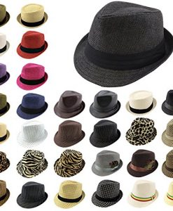 Enimay® Classic Fedora Hat Gangster Cuban Summer Straw Leather Trilby (OVER 20 STYLES)