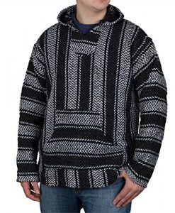 Baja Joe Striped Woven Eco-Friendly Jacket Coat Hoodie (Teal)
