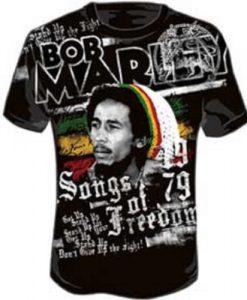 Bob Marley-Mens Freedom T-Shirt In Black, Color: Black
