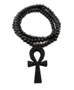 "Egyptian Engraving Wood Ankh Pendant 8mm 36"" Wooden Bead Chain Necklace in Black"