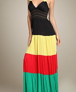 Rasta Reggae Smocked Empire Waist V-neck Summer Maxi Dress U.S.A