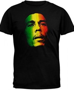 Bob Marley Face Rasta Tri-Color Adult Men's Black T-Shirt