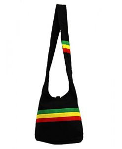Bohemian Reggae Black Rasta Purse w/ Stripe Hobo Shoulder Bag Satchel Crossbody