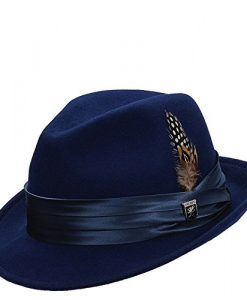 Stacy Adams Men's Crushable Wool Felt Snap Brim Fedora (Royal, X-Large)