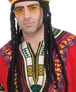 Forum Novelties Men's Novelty Rasta Hat with Hair and Glasses