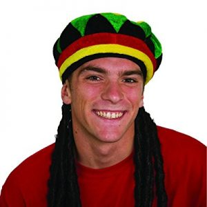 Dreadlocks Wig with Rasta Cap Bob Marley Jamaica Jamaican Rastafarian Dreads Hat