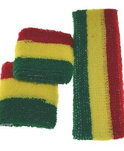 MS Terry Rasta Elastic Headband Wristband Red Yellow Green