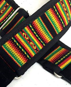 Pete Schmidt Rasta Guitar Strap - Handmade Strap For Acoustic & Electric Guitar - Reggae Rasta Style Fabric