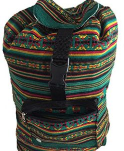 Rasta Bag. Beach Bag, Backpack-Rasta Green with Stripes