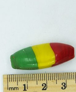 Glass Beads Red Yellow Green Rasta Opaque Oval 30mm. Pack of 6. Made in India.