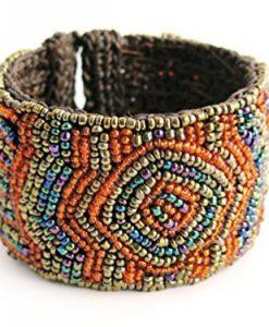 Exotic Style Marakesh Seed Bead Crochet Cuff Bracelet