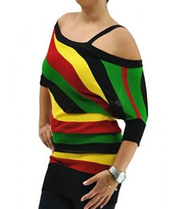 POPLife Sexy Rasta Off Shoulder Jamaica Reggae Party Knit Tunic Top Size S HRA3001