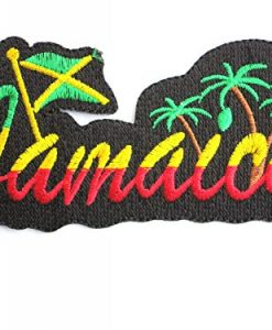 "JAMAICA Flag Logo Reggae Rasta Iron On Embroidered Patch Approx: 4.8""7/11.8cm x Approx: 2.9""/7cm By MNC Shop"