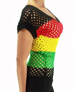 POPLife Sexy Rasta Ladies Tunic Top - Empress Jamaica Reggae Fishnet Shirt HRA7455