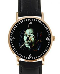 New Bob Marley Rasta Colour Seamless Custom Round Gold Case Black Leather Strap Fashion Wrist Watch Bain Cow Design