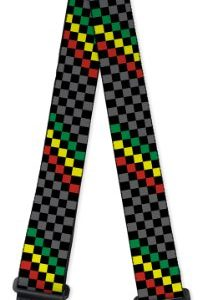 Nylon Guitar Strap - Checker Stripe Black, Gray, Rasta