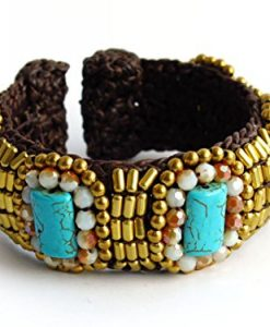 Blue Turquoise Stone & Brass Beads Upper Arm Cuff Bracelet