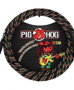 Pig Hog Instrument Cable 10 ft. Rasta Stripes