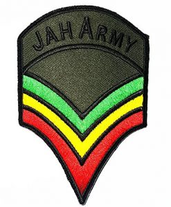 JAH ARMY Military Chevron The Lion of Judah Rasta Rastafari Jamaica Africa Reggae Band Logo patch Rock Heavy Metal Punk Music Band Logo Patch Sew Iron on Embroidered Badge Sign Costume Gift