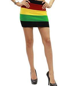 POPLife Sexy Rasta Empress Jamaica Reggae Knit Fitted Mini Skirt Size S HRA3003