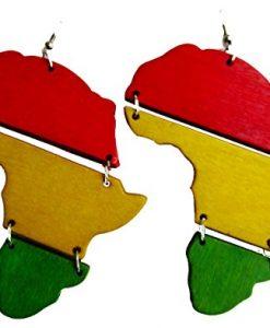 """Africa Rasta Earrings """"Reggae Earrings"""" Jamaican Earrings-Africa Map Earrings-Drop Rasta Earrings"""
