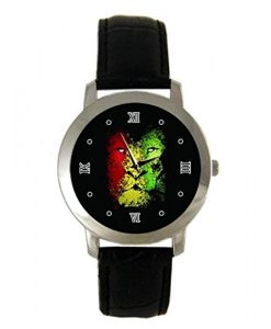 Cool Rasta Lion Graphic Custom leather Band Fashion Adult Wrist Watch - Holiday tone