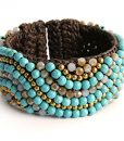 Blue Turquoise Faceted Crystal Crochet Beaded Cuff Bracelet