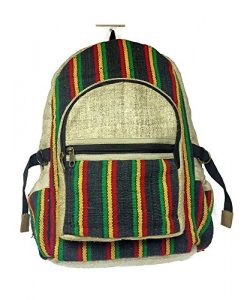 Rasta Hemp Backpack. Rasta Themed Reggae Bookbag.
