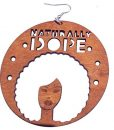 Naturally Dope Afro Earrings / Natural Hair Earrings / African American Woman Earring / African Wood Jewelry
