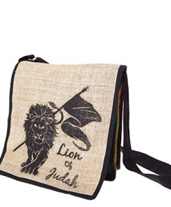 Lion of Judah Rasta Hemp Messenger Purse-rasta-one Size