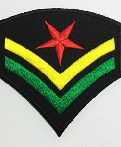 Military Army Rank Costume Rasta Jah Reggae Fashion DIY Applique Embroidered Sew Iron on Patch p#172