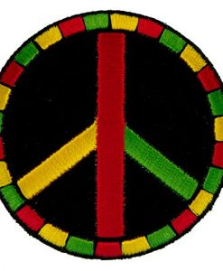 Rasta Peace Symbol Sign Africa Colors Embroidered Iron on Patch
