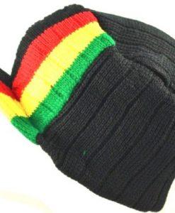 Rasta Brim Hat Winter Knit Cap Beanie-black red yellow green