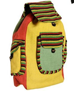 Lungta Imports Hippie Recycled Jute Rice Rasta Bag Backpack Hand Made Nepal