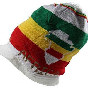 Rasta Dread Knit Beanie Visor Africa